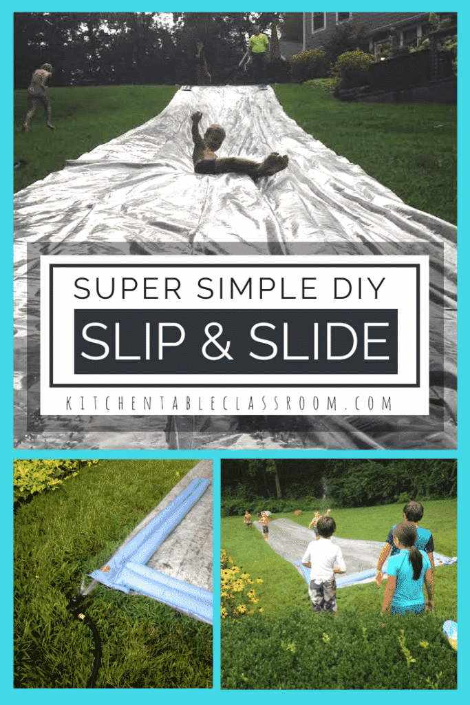 This DIY slip and slide goes together in minutes, can be reused over and over, and has no scary garden stakes involved. Summer fun coming up!
