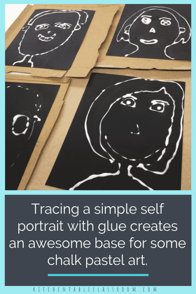 This glue and chalk pastel technique creates graphic outlines with glue and fills in the spaces with vibrant color from chalk pastels.