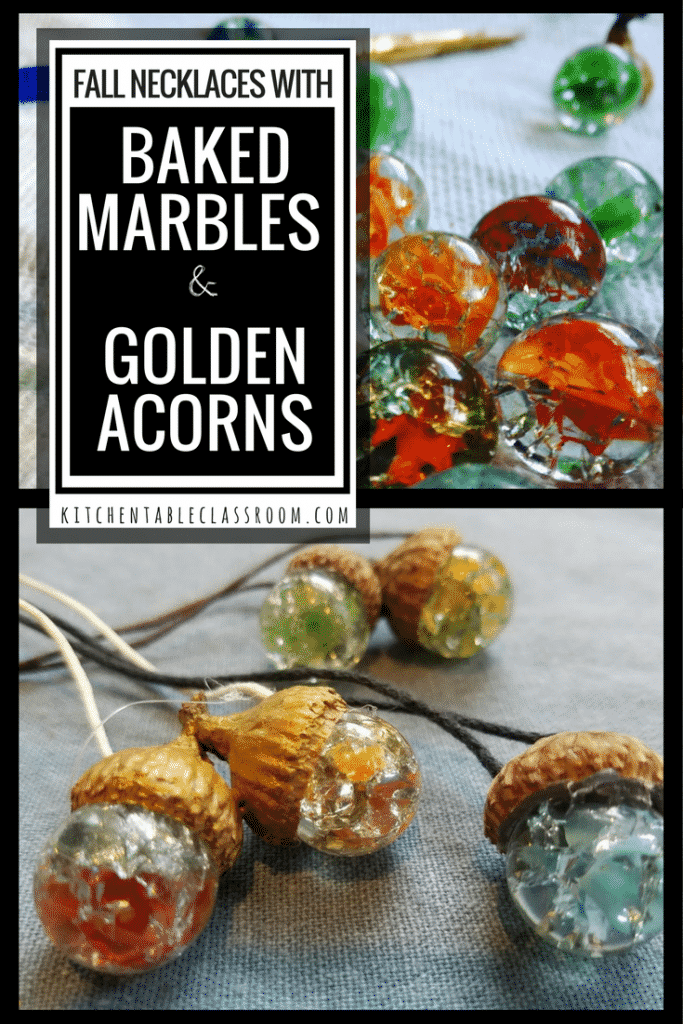This craft uses natural materials, has impressive results,and comes together quickly. Acorn necklaces made with baked marbles fit the bill!!