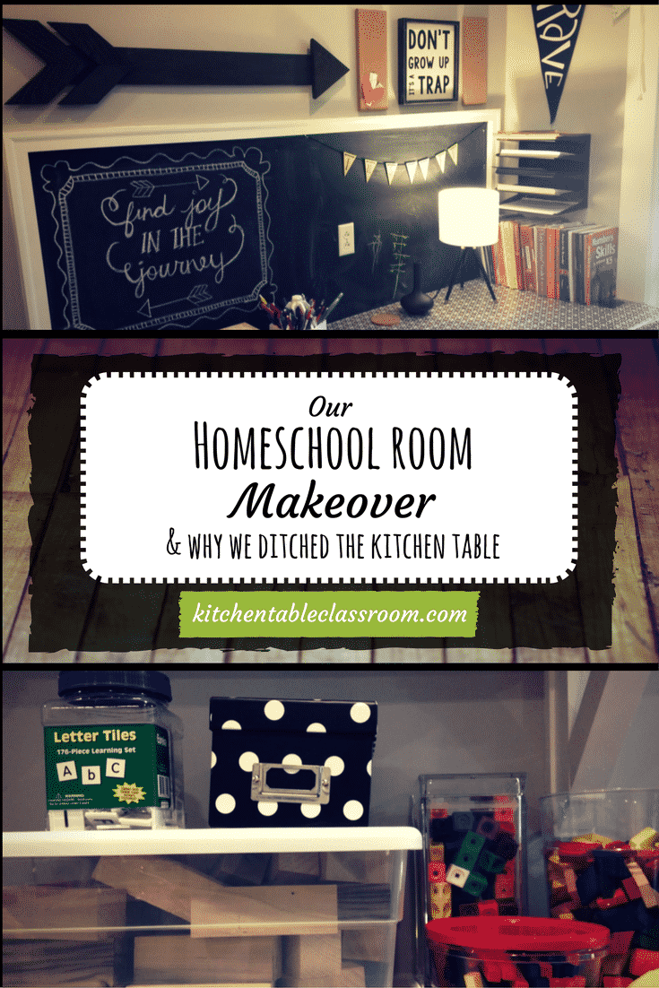 """Homeschool Room Makeover- Our first year of homeschooling was last year. While I invested way too much money and research oncurricula (way, way too much) I only bought a few storage boxes and a rolling cart to store books on. I set up on a corner of the kitchen table and that's where did school, hence """"The Kitchen Table Classroom."""" This year a homeschool room was a priority. We needed a new space that allowed quiet and focus."""