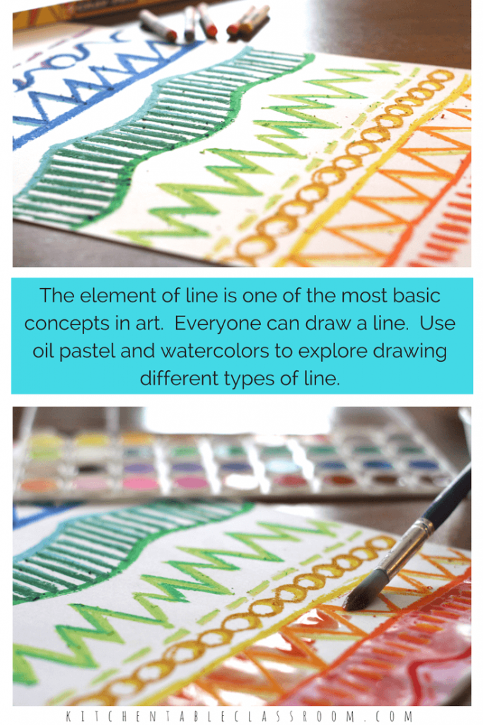 "Teach the element of line by making and doing! This little project was all about line exploration with oil pastel and watercolor.  Drawing different types of lines with oil pastels and the topping off with watercolor paint allows those lines to really ""pop."" If you're look for a one day art lesson on line this is it!"