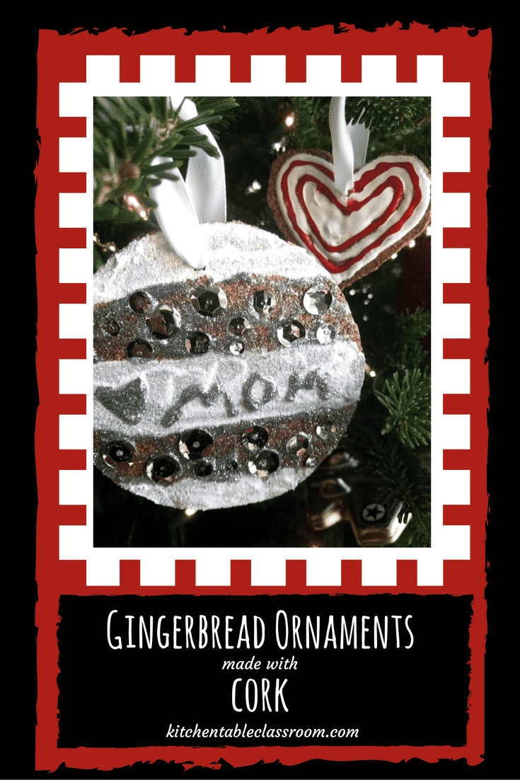 We've made gingerbread cookies, gingerbread art clay, & the boxed gingerbread has made an appearance.  This year it's gingerbread ornaments made with cork!