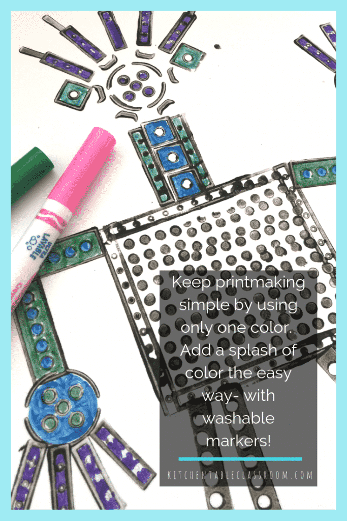 42 LEGO Crafts and Activities for Kids for Endless Fun featured by top US lifestyle blogger, Marcie in Mommyland: This simple Lego craft takes advantage of the huge variety of shapes & sizes Legos come in to make Lego prints in the shape of robots.