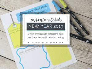 These free new years printables (in color and black and white) help your kiddos reflect the good of 2018 and look forward to 2019!