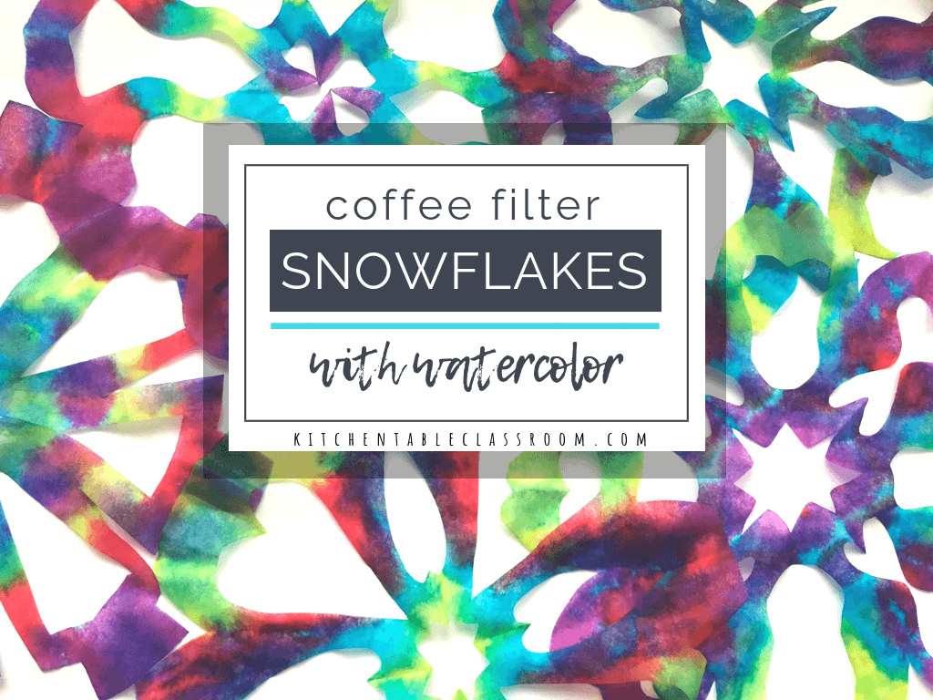 These colorful watercolor snowflakes are cut from coffee filters! Coffee filter snowflakes are easy for little hands to cut & perfect for celebrating winter