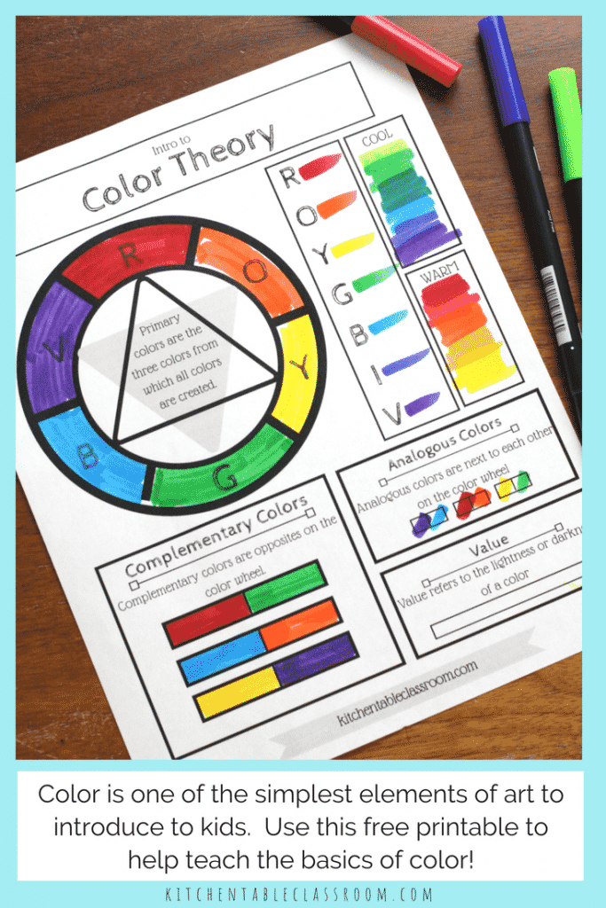 Use this free printable color wheel to introduce your kids to the element of color.This color wheel printable illustrates basic color theory concepts.