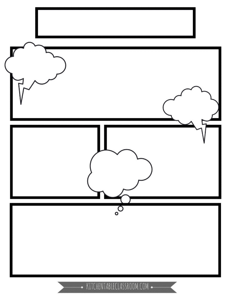 Comic book templates free printable pages the kitchen for Blank book template for kids