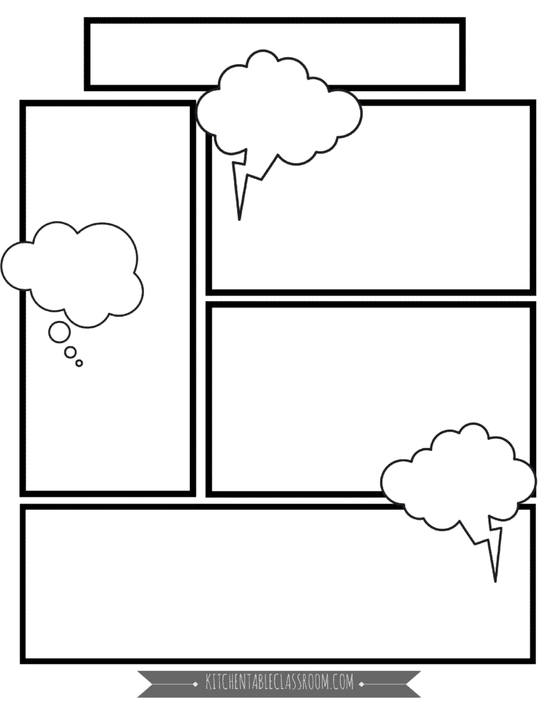 Comic book templates free printable pages the kitchen for Printable blank comic strip template for kids