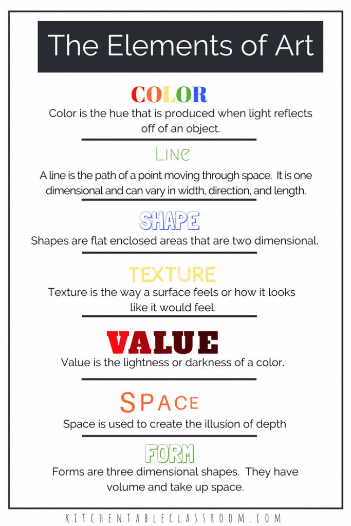 Introducing kids to the elements of art definitions gives a solid foundation of art vocabulary. Use these free element of art worksheets to get started!
