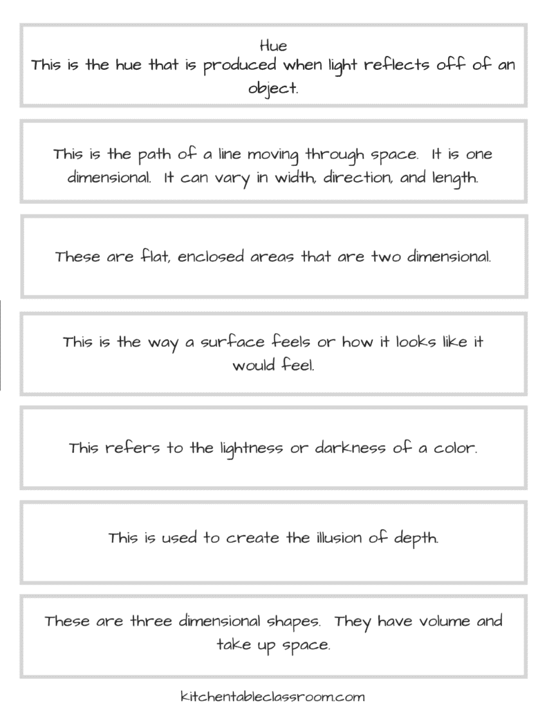 7 Elements Of Art And Their Definitions : The elements of art printables kitchen table classroom