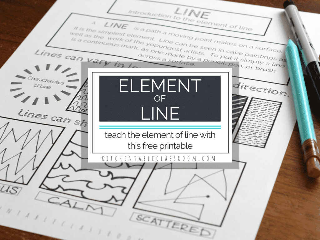 Learning about the different types of lines in art is a fun & easy place to start teaching about the element of line in art. Start with this free printable!