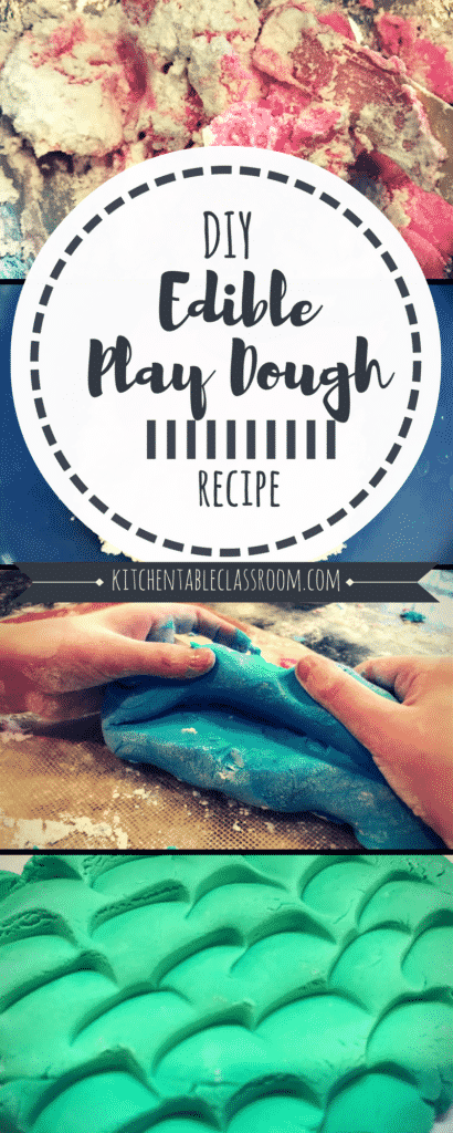 We've done lots of recipes for putty, slime, & dough at my house.  This DIY recipe for two ingredient edible play dough is a favorite!