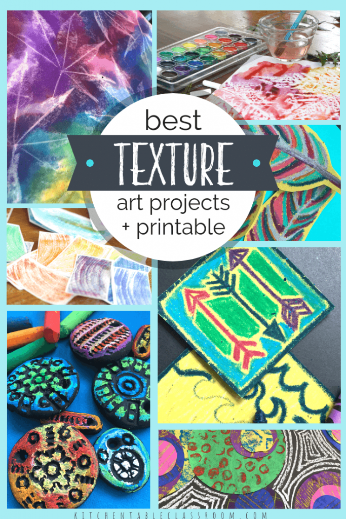 Use this free texture printable and collection of art projects that focus on the element of texture to teach kids about actual texture and implied texture!