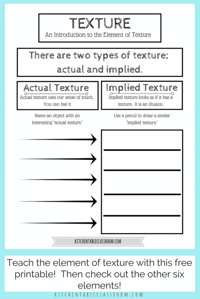 Use this free printable to to learn about different types of texture in art. Show kids the difference between implied texture & actual texture the easy way!