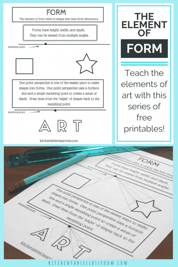 The element of form is what take a flat shape & makes it a 3-D form. Use this simple printable series to help teach form & all the elements of art!