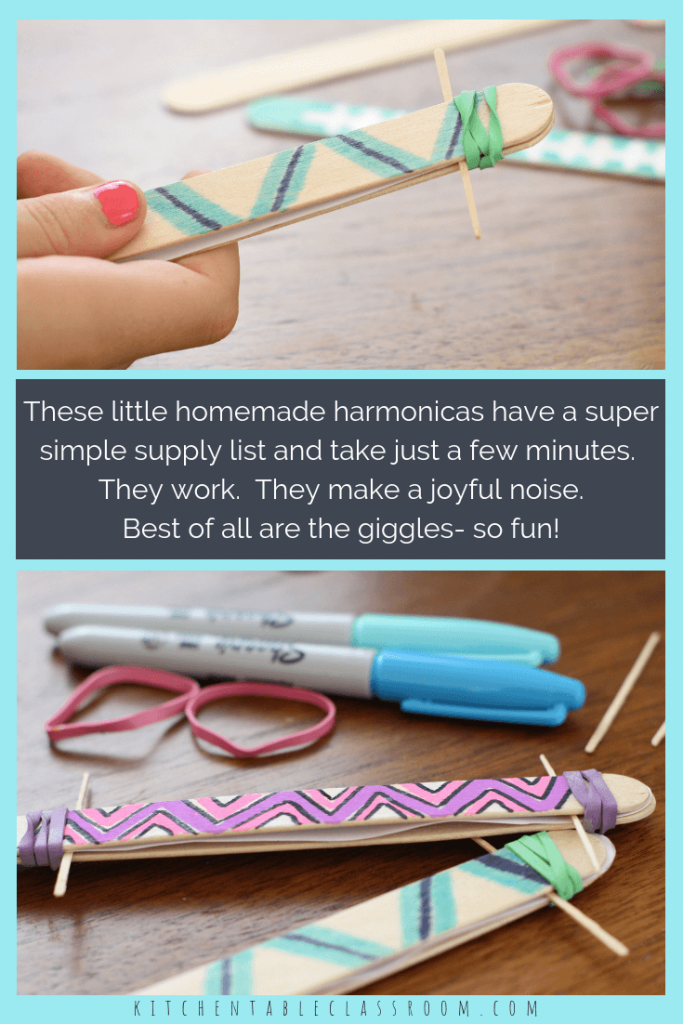 Whether you call this a homemade harmonica or a homemade kazoo this little homemade instrument is a blast! Giggles will follow this super simple kid's craft