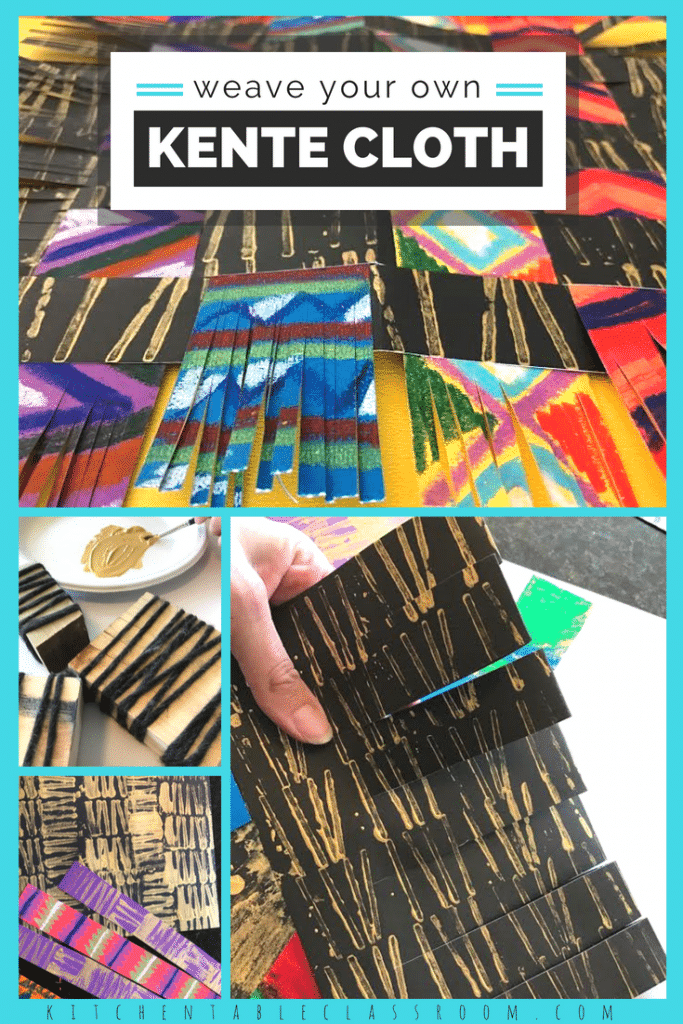 Explore the kente cloth meaning with this mixed media kente cloth art project and free printable resource.  Learn what a kente cloth is and it's importance!
