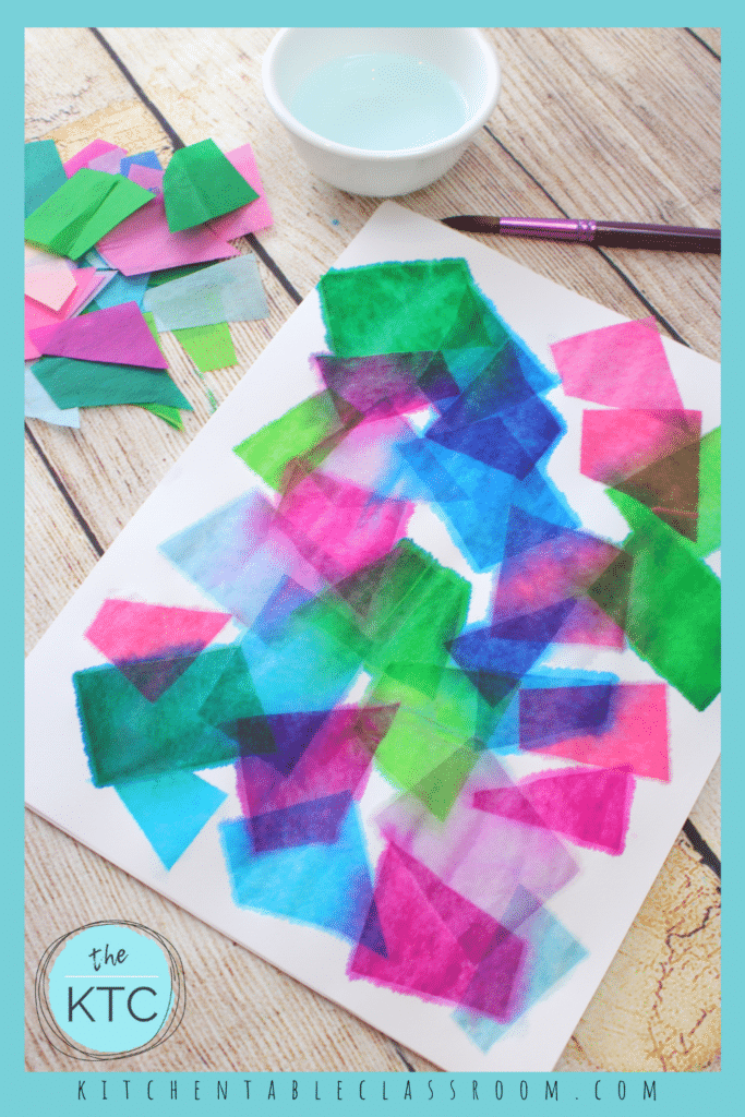 Paint tissue paper with water for this colorful watercolor like result.