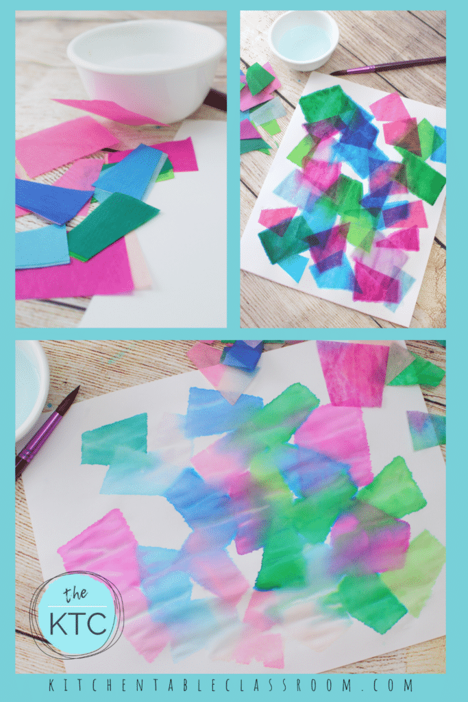 Paint tissue paper with water for this unique process art activity