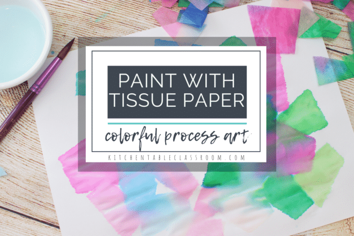 tissue paper painting process art for kids