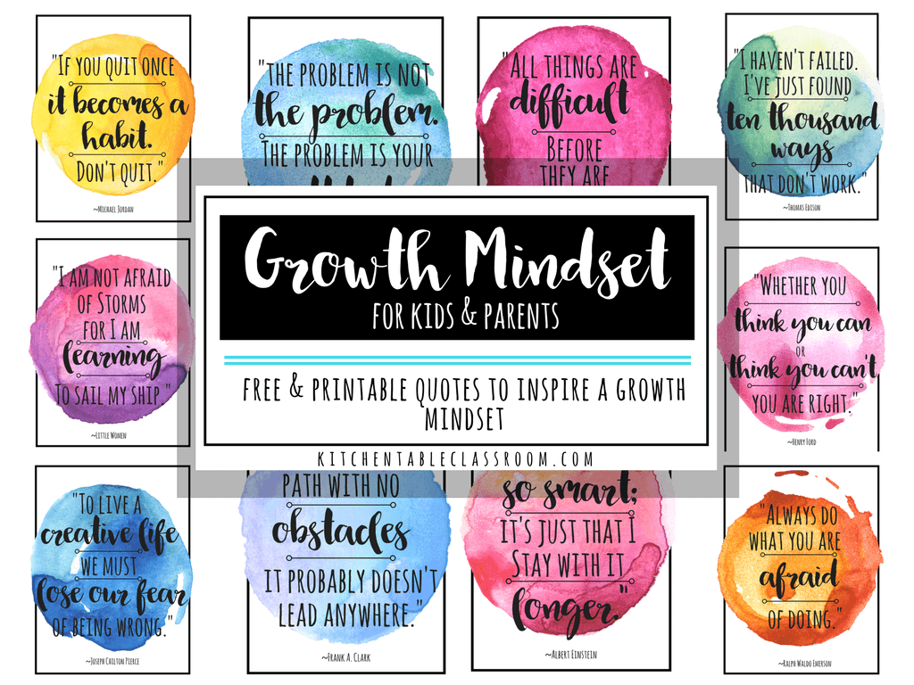 Reading Quotes For Kids Growth Mindset Quotes For Kids & Parents  The Kitchen Table Classroom