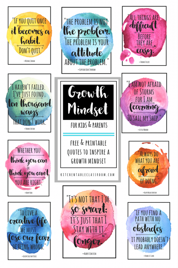 love that what you know & what you can do can change at anytime!  This is exciting news, right? These growth mindset quotes are good reminders of just that