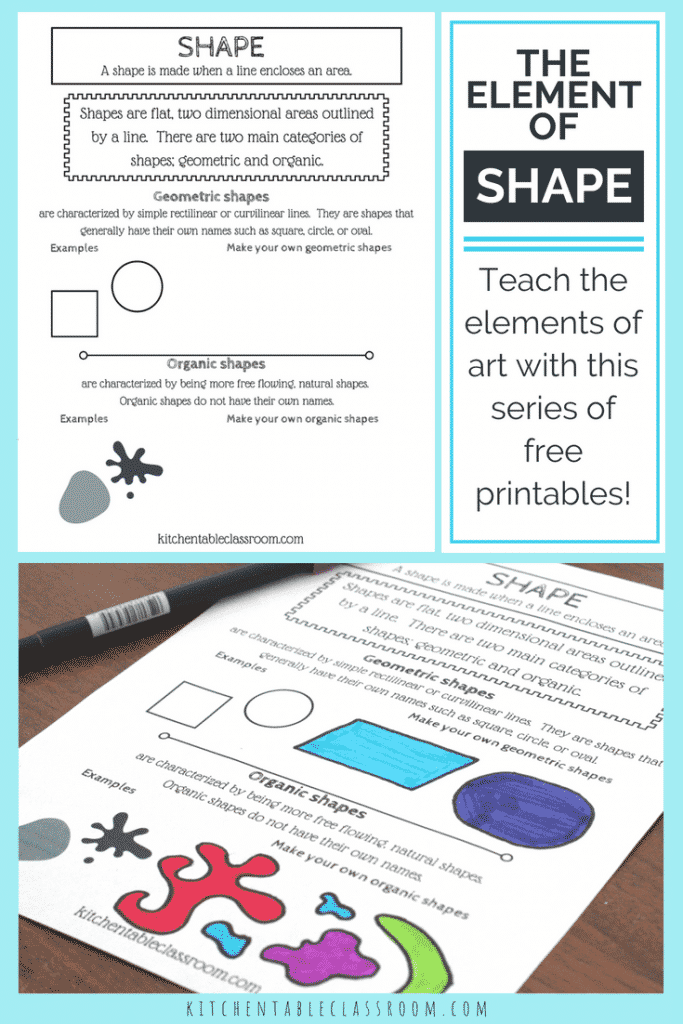 Types Of Shapes In Art The Element Of Shape With A Printable The Kitchen Table Classroom