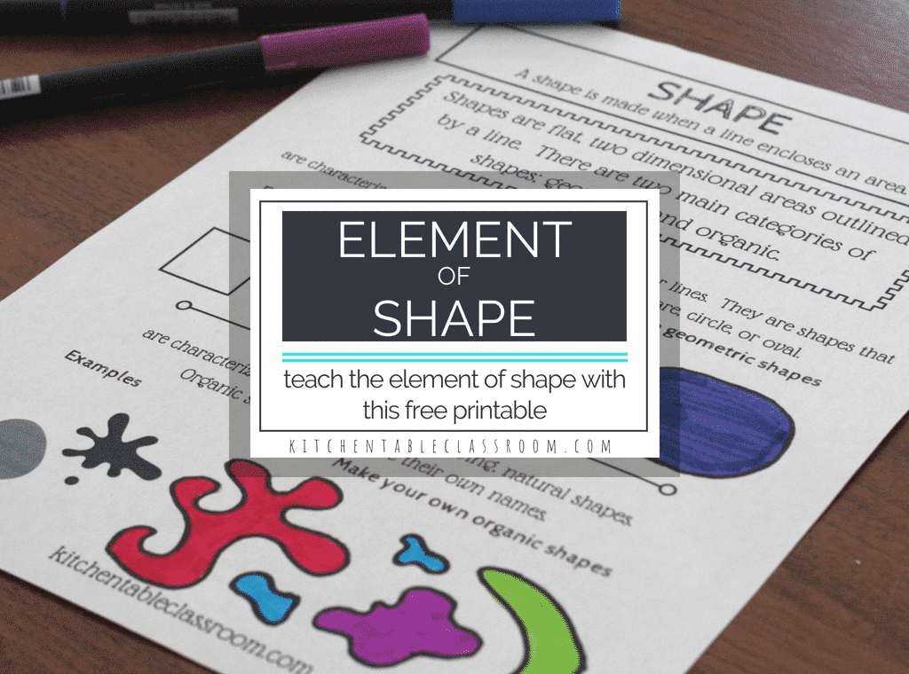 Kids draw shapes all the time. Fully explore the types of shapes in art, organic shapes and geometric shapes, with this free printable!