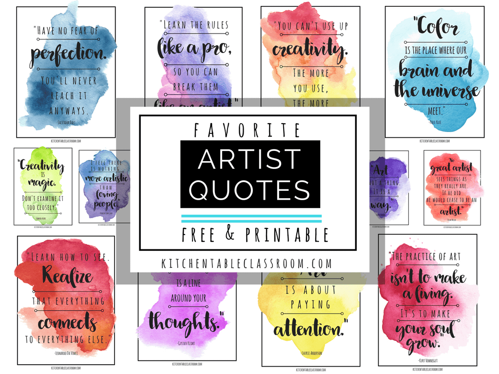 Famous Artist Quotes Art Quotes To Inspire Creativity The Kitchen Table Classroom
