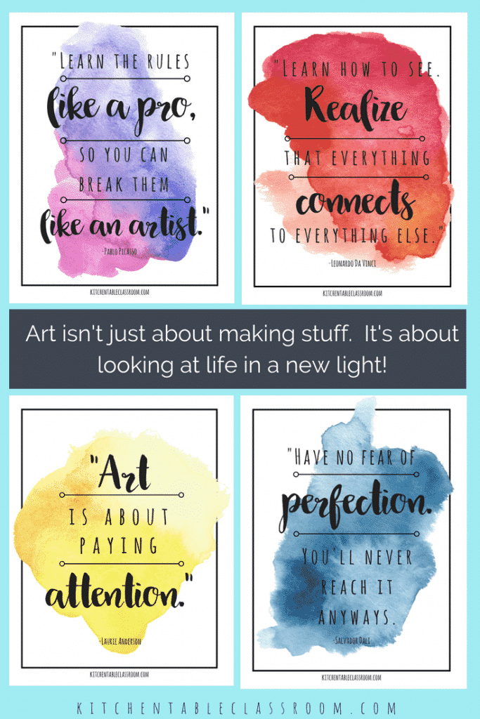 Let these famous artist quotes encourage each of you to embrace creativity in whatever form suits you! Free watercolor inspirational art quotes to inspire!