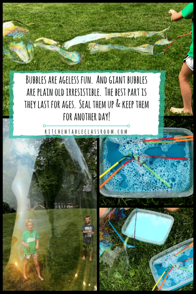 This bubble recipe takes blowing bubbles to the next level.These bubbles result in a whole body activity that calls for standing, moving, and playing!