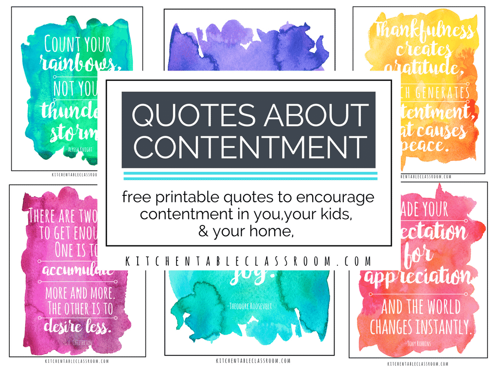 contentment for you, your kids, and home with free printable quotes