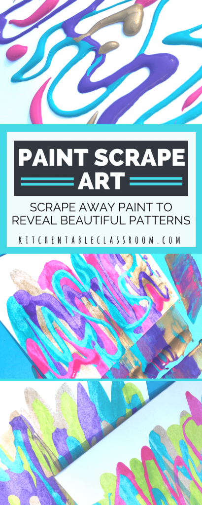 Paint scrape art doesn't take much in the way of materials.  This process can be as basic or sophisticated as you want it to.  So squeeze out some paint, scrape it off, and watch the intricate designs underneath show though.   This process art activity is fun for everyone!
