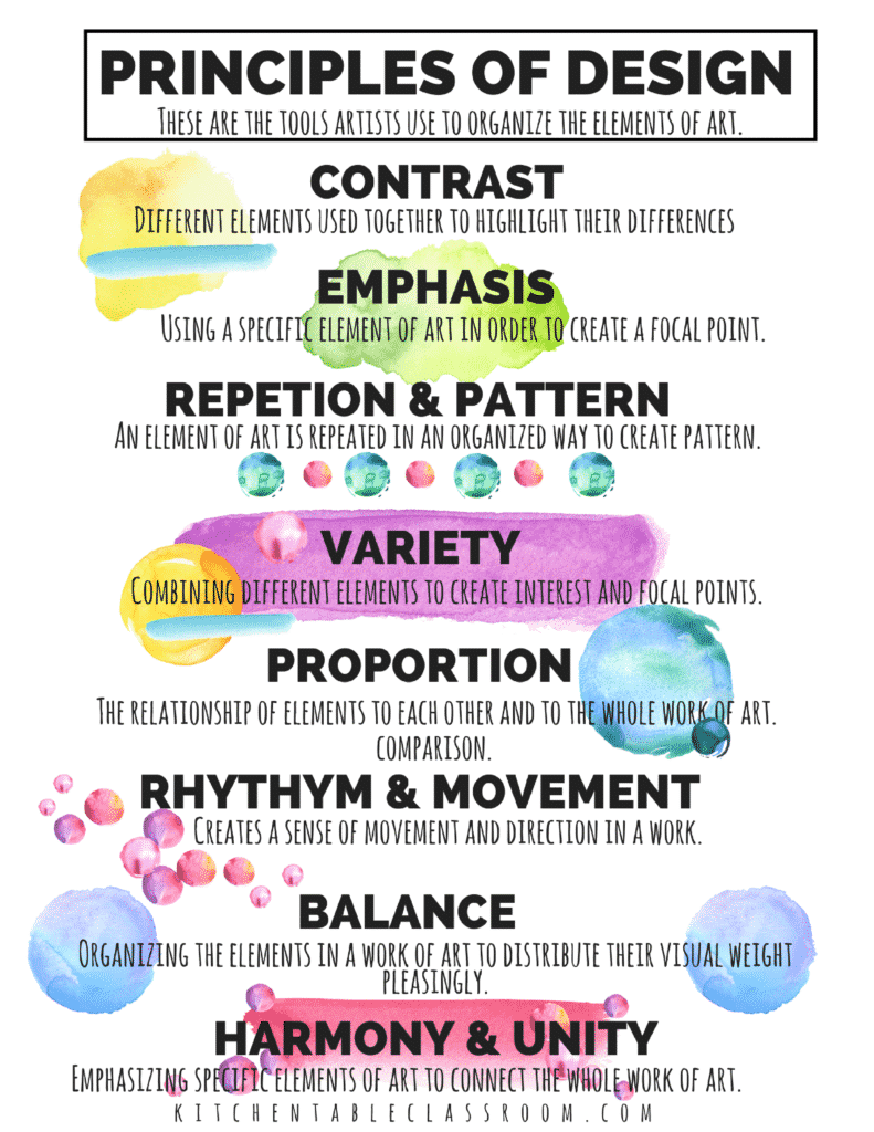The principles of design in art are like tools artists use to create their work.Use this free fold up printable to introduce the principle of design in art.