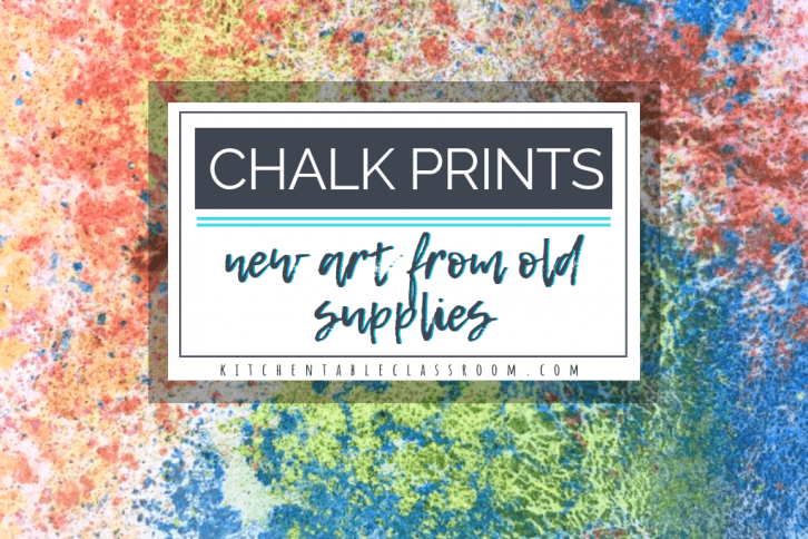 These floating chalk prints use old scraps of chalk to create bright new prints. Layers of floating color on top of water make beautiful chalk prints.