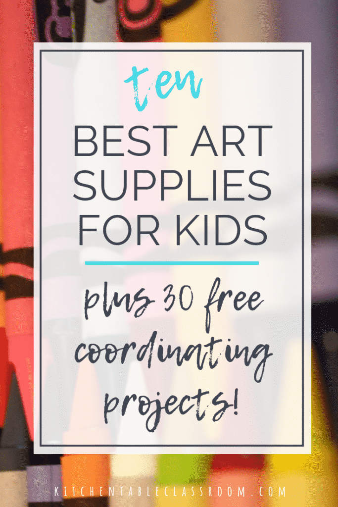 The best art supplies for kids don't need to be costly! Check out these ten best art supplies for kids plus 30 coordinating (free) art projects!