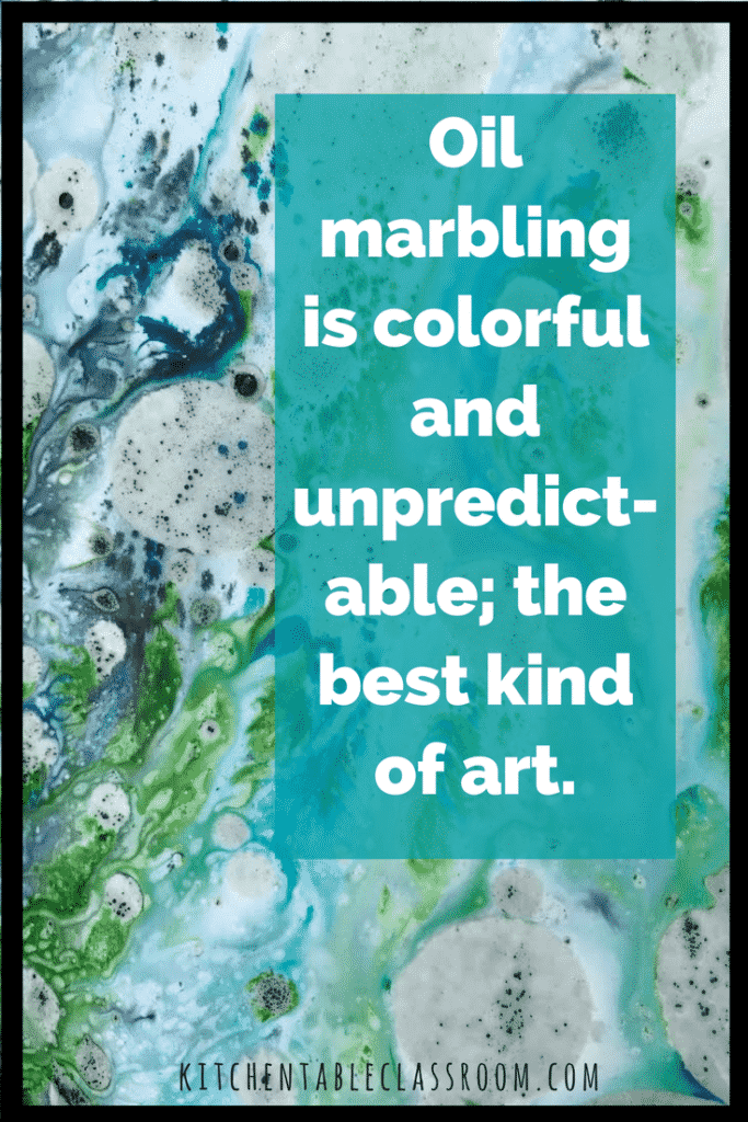 I love introducing kids to art processes that are spontaneous and somewhat random in their results. Everyone is successful with this paper marbling