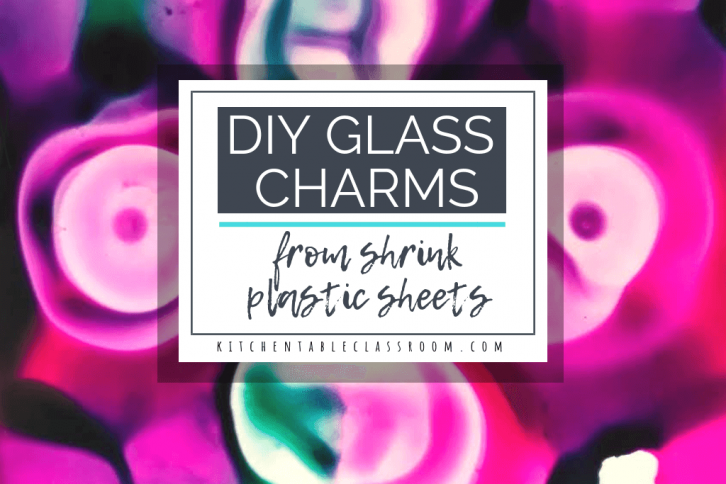 Use shrink plastic sheets to make flashy DIY jewelry charms. These charms may look like fused glass but they're really super child friendly shrink art!