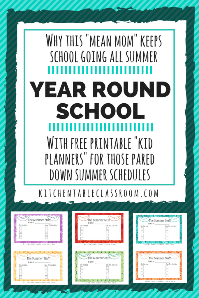 We do year round school at our house because it work for us. It provides some freedom to our school year and structure to our summer!