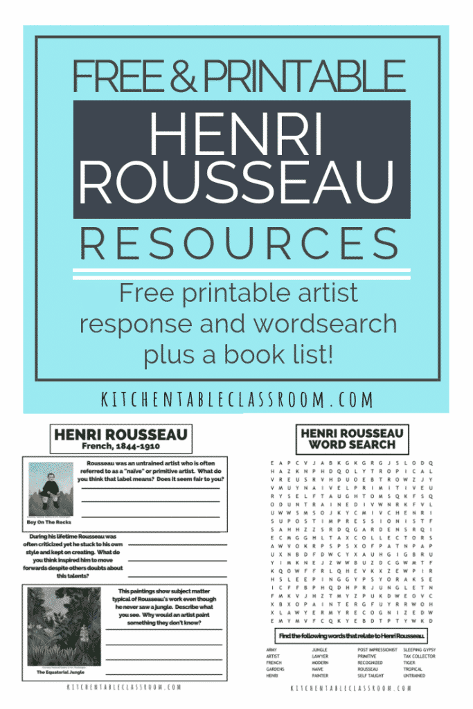 eaching about Henri Rousseau for kids becomes easy with free resources like this! This is a no prep art history lesson for kids- artist study & more!
