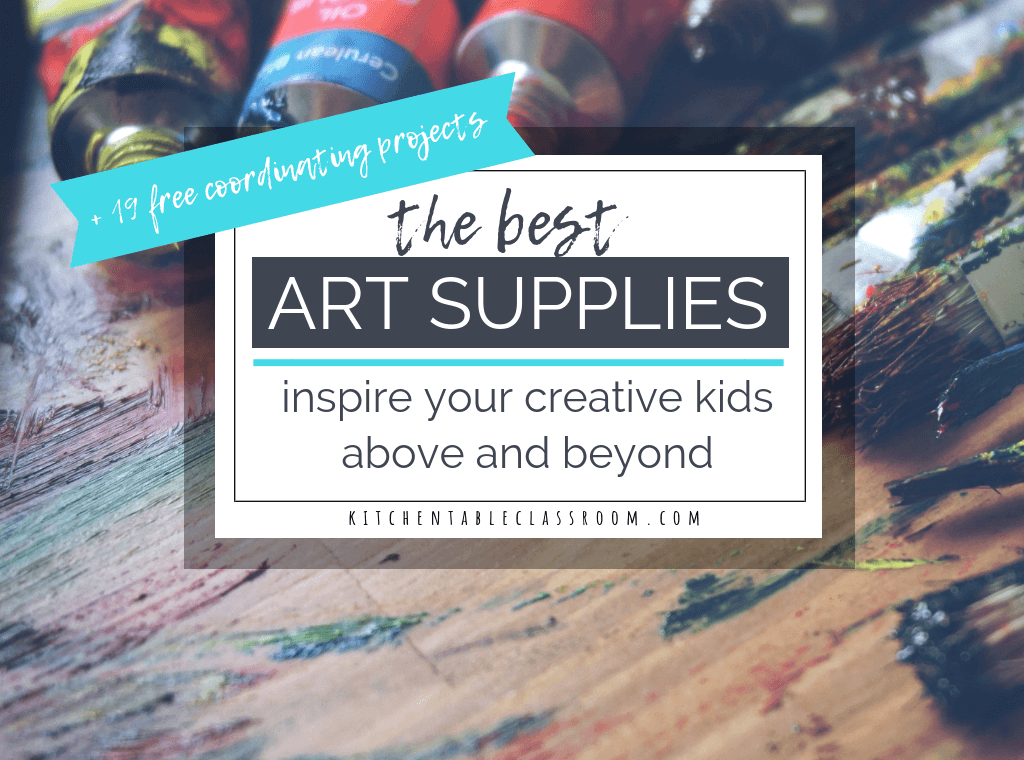 This art supplies list will enrich your kid's art education & allow them to keep making for ages! 19 free projects to use these very art supplies included!