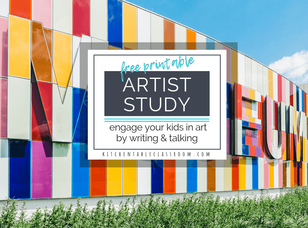 Studying great artists is an easy way to connect art vocabulary, art history, & personal connections to artwork. Get your free artist study worksheets!
