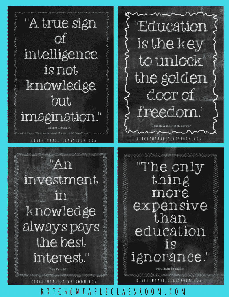 Passing a love of reading and learning on to our four kids is a big deal to me.I hope these education quotes can help you illustrate that desire to learn!