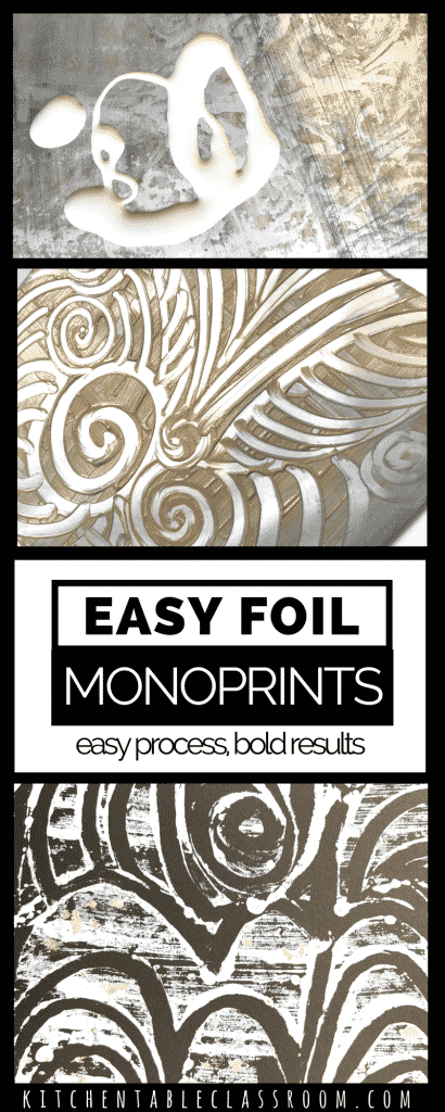 These are foil print monoprints. That means you will only to be able to make one of each image.The foil doesn't make the print but creates a printing plate.  They are an easy and inexpensive introduction to the mono printing method and create some prints in minutes.