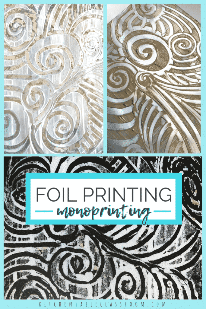 This foil pritntmaking method produces monoprints but the foil printing plate can be used over and over.  Foil prints are a great experience for any age!