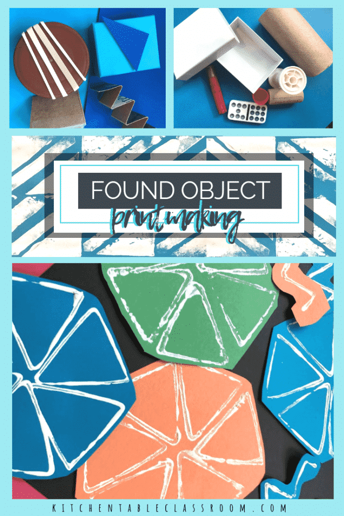 Do you like free art lessons? Turn your junk into art with this found object printmaking process. Stamp with lids, cardboard, boxes, and more!