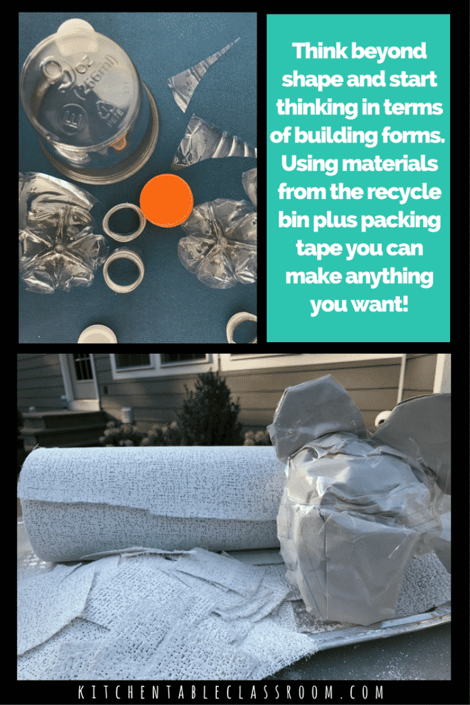 The difference between shape and form can be a tricky one for kids to understand. Leave the shapes on the table make forms with these paper mache animals.