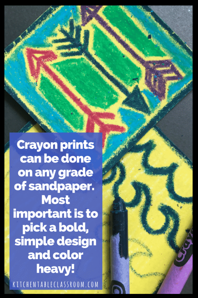 This monoprint project is full of texture & color. It's made with crayon and sandpaper you say? That's a weird combination.Maybe, but check out the results.