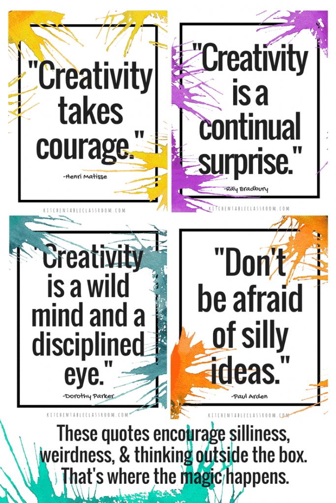 Creative thinking changes the way we see the world and view everyday problems. Use these free creativity quotes to inspire a creative mindset in your kids!