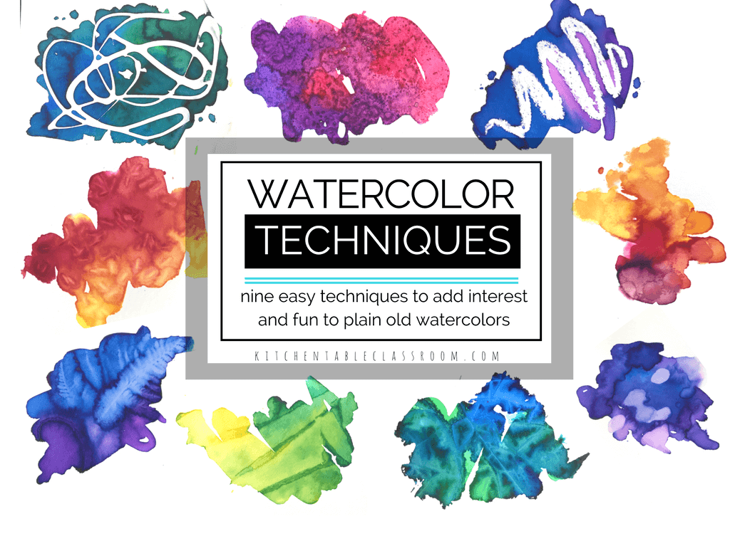 These nine new watercolor techniques for kids will bring new life to painting in watercolor for kids. Learn to paint watercolors in a whole new way!